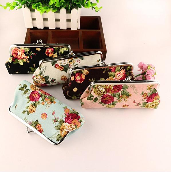 Monedero monederos de las mujeres monederos largos titular de la tarjeta para niña Dama Retro Vintage Flor Monedero pequeño cerrojo bolso de embrague