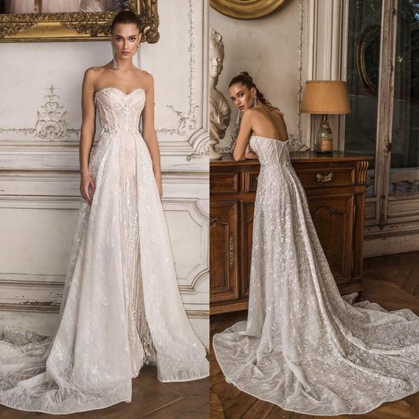 2020 Modest Birenzweig A Line Wedding Dresses Sweetheart Sleeveless Lace Hand Made Flowers Crystal Wedding Gowns Sweep Train robe de mariée
