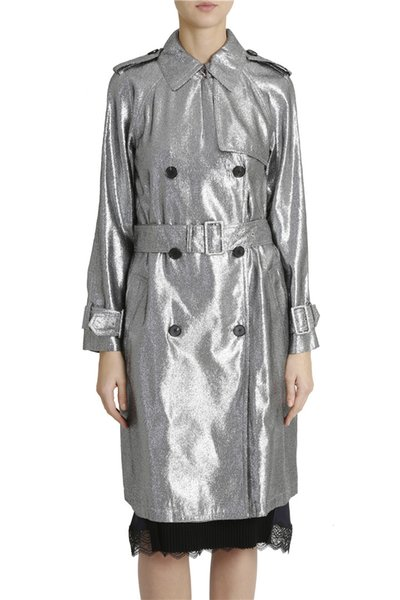 Fashion Glitter Silver Long Trench Coat Women Double Breasted Classic Work Trench Autumn Pockets Elegant Party Performance Coat