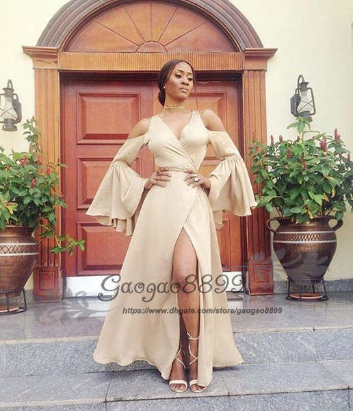 Chic champagne split prom dresses mermaid african Nigerian long sleeves floor length cheap long formal celebrity evening party gowns