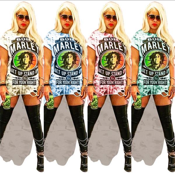 Mujeres Vestidos de Rock Bob Marley Carta Floral Impreso Vestidos Largos Irregular Agujero Camiseta Vestido de Verano Mujer Dovetail Short Skirt C5901