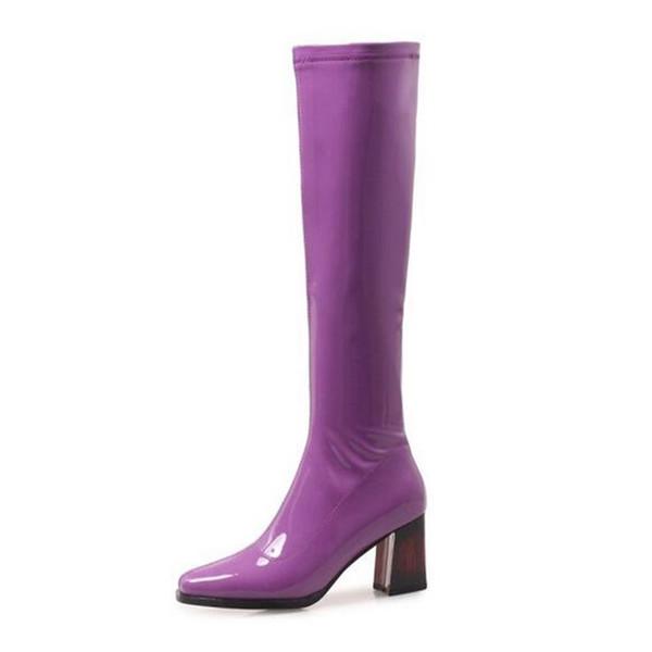 Genou violet brillant bottes femmes talon carré bottes côté zipper bleu hiver dames discothèque grande taille talons hauts nouveau