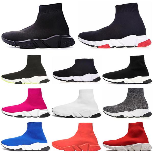 Diseñador de moda Speed Trainer Sock Shoes Hombres Mujeres Triple Negro Blanco Rojo Brillo Voltios Zapatillas de deporte para hombre Corredores Zapatillas de deporte ocasionales 36-45