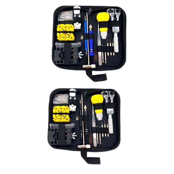 148pcs / set durable Bleu / Noir Montre Porte Ouvre cas Remover Horloger outil Réparation tournevis d'entretien Gadgets main