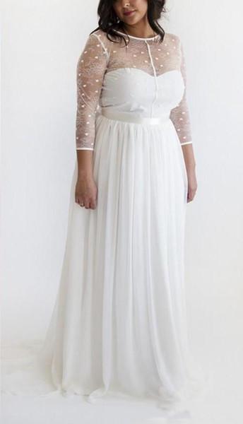 Setwell 2019 Summer Beach Jewel A linha de vestido de noiva 3/4 mangas compridas Sexy Backless Chiffon até o chão Plus Size vestido de noiva com faixa
