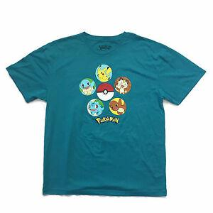 Hip hop Teal T Shirt Pikachu Squirtle Charmander Bulbasaur New with Tags Mens