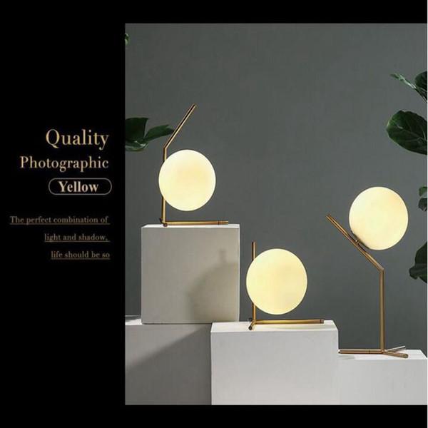 JESS Moderne Einfache LED Tischlampe Schreibtisch Licht Shade Glaskugel Tischlampe für Schlafzimmer Wohnzimmer Boden Nacht Gold Designs