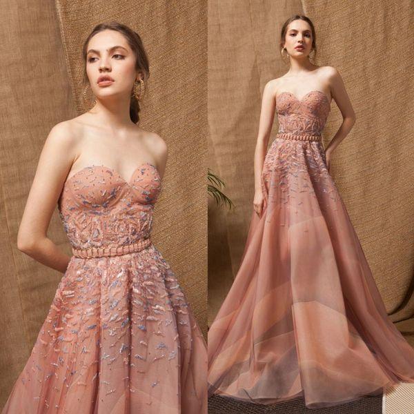 Strapless tulle a linha vestidos de noite longo 3d floral lace applique meninas pageant vestidos de comprimento do assoalho formal vestidos de festa