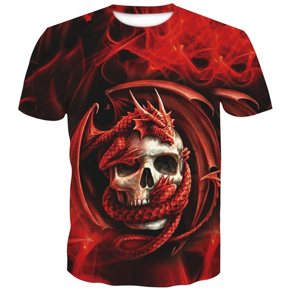 mens t shirts fashion 2018 New Skull 3D print funny Short sleeve tshirt men and woman Polyester brand clothing china printed top
