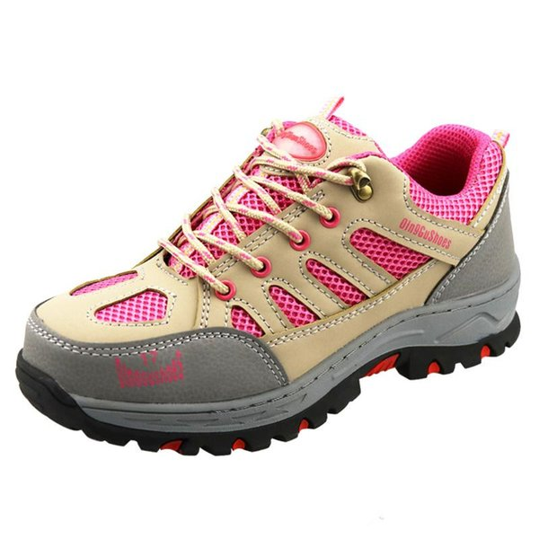Women Steel Toe Casual Work Shoes Women Lace up Pink Outdoor Work Safety Boots For Woman Plus Size 34-40 Summer Safety Shoes