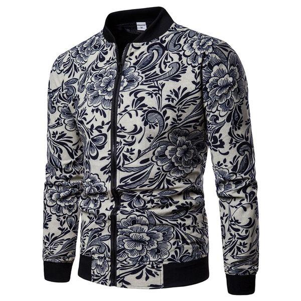 New Queda dos homens gola do casaco de manga longa alternativa rua moda jaqueta de algodão preto e branco flor impressa casaco de alta qualidade dos homens