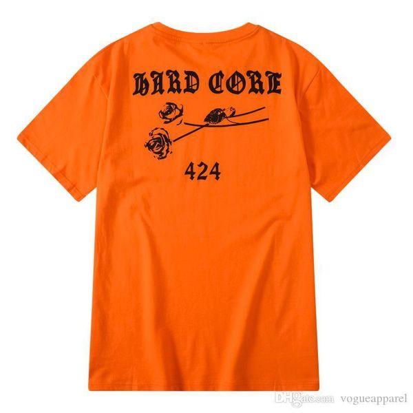 525 Yüksek Sokak Giyim Mens Tshirt Turuncu Gül Baskı Kısa Kollu Tişört Yaz Moda Severler Üst