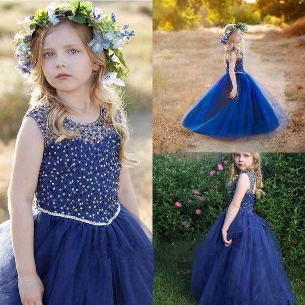 Funkelnde blaue Prinzessin Mädchen-Festzug-Kleider mit wulstige Tulle Fußboden-Länge eine Linie Blumen-Mädchen-Kleider nach Maß