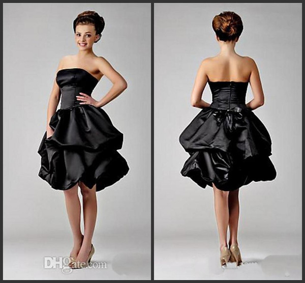 2019 New Cheap Little Black Ruffled Satin Cocktail Prom Dresses 2018 under 100 Strapless Knee Length Homecoming Party Gowns Custom Made 1160
