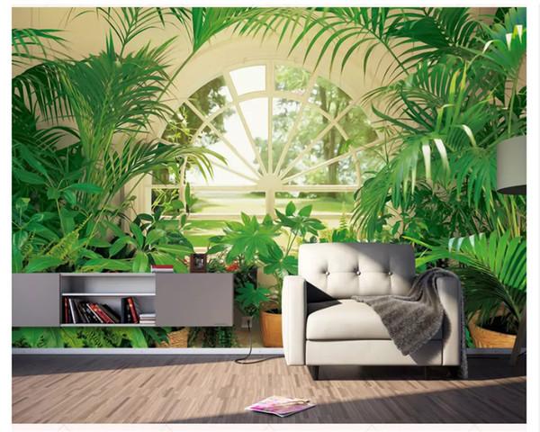 Carta da parati personalizzata minimalista moderna nordica pianta verde pastello finestra murale sfondo papel de parede carta da parati 3d