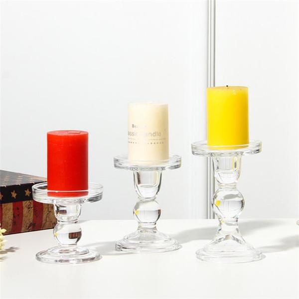 Portacandele di vetro romantico di cristallo Candeliere Tealight Holder da sposa di alta piedi Candlestick creativo partito decorare T9I00207