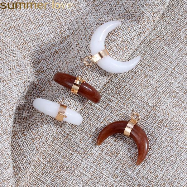Trendy Druzy Achat Mond Form Charme NaturalStone Crescent Brown Weiße Farbe Anhänger Mit Gold Überzogen Für DIY Schmuck Machen Armband Necklac