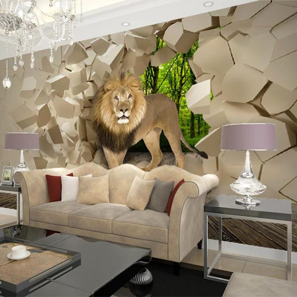Sob encomenda da foto papel de parede 3D leão estereoscópico quebrado mural de parede pinturas papel de parede para sala de estar quarto paredes papel de parede