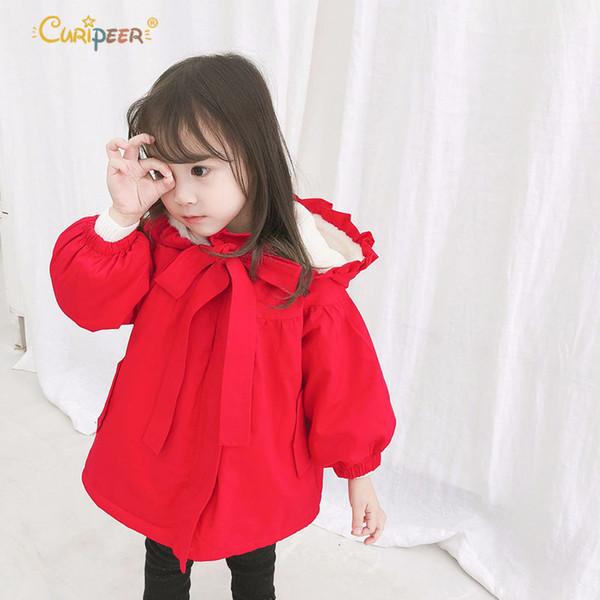2019 Mais Novo de Veludo Da Criança Meninas Casaco de Inverno Com Capuz Bonito Acolchoado Quente Do Bebê Menina Casaco Longo Vermelho Crianças Quente Outwear Roupas