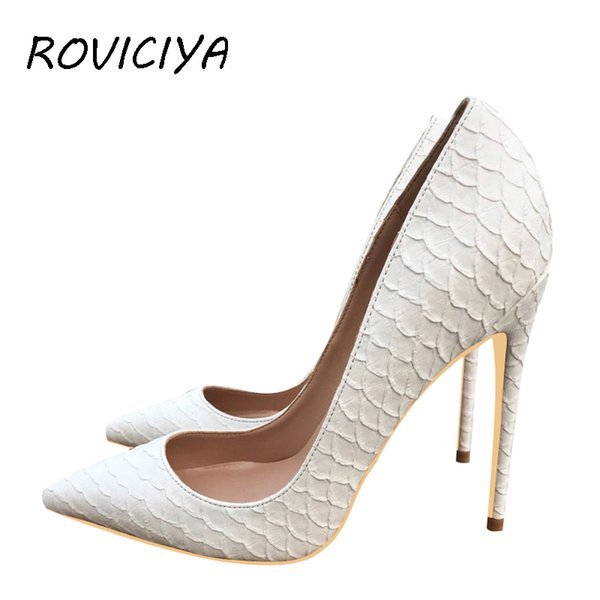 discount sale hot product first look White Pumps Famous Brand Designer Shoes For Women Snake'S Pattern Pointed  Toe Sexy High Heels 12 Cm Plus Size YG021 ROVICIYA Mens Sneakers High Heels  ...