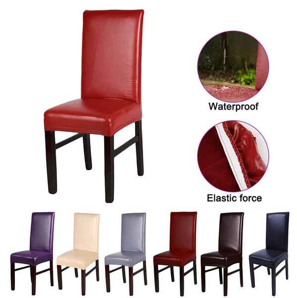 Chair Covers, Solid Pu Leather Waterproof And Oilproof Stretch Dining Chair Cover Slipcover For Home Decorative