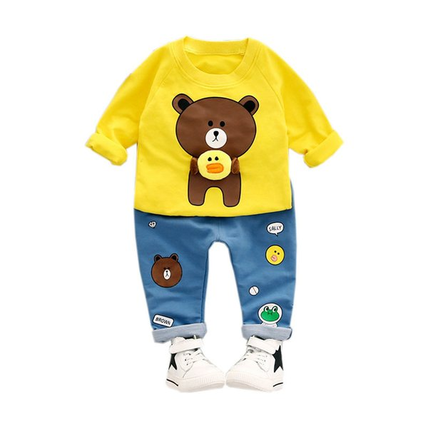 2019 Spring Autumn Children Boys Girls Cartoon Clothing Sets Pring Bear T-shirt Jeans 2Pcs/sets Baby Clothes Infant Tracksuits