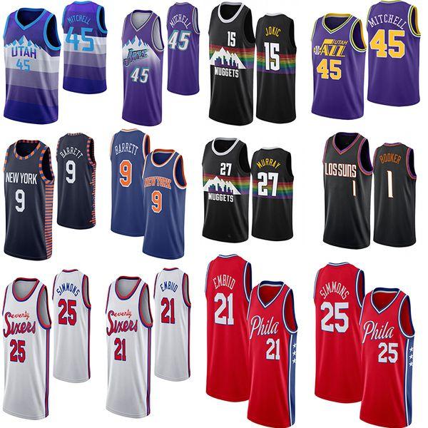 NCAA 2020 Joel 21 Embiid Ben 25 Simmons 27 Murray Nikola 15 Yokiç 45 Mitchell Devin 1 Booker RJ 9 Barrett Erkekler Koleji Basketbol Formalar