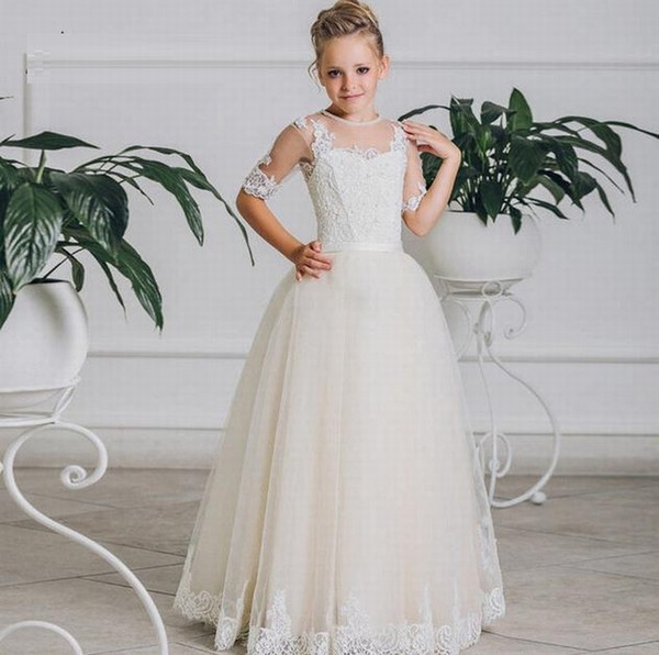 Lace Flower Girl Dress Princess Party Wedding Bridesmaid Communion Formal Gown