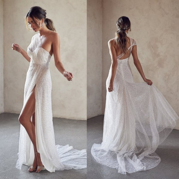 2019 Luxury A Line Wedding Dresses One Shoulder Sequins Backless Bling Bling Bridal Gowns Chapel robe de mariée