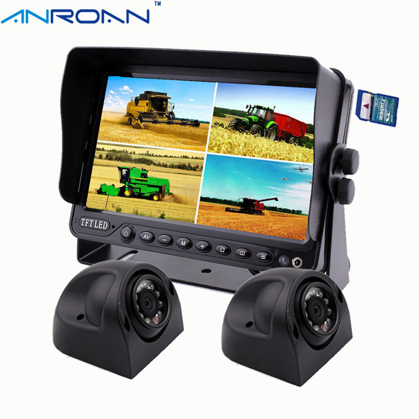 "Anroan Car 2 x Side Camera + 7"" DVR Monitor, Backup Camera System for Heavy Duty Truck RV AN7DT8"