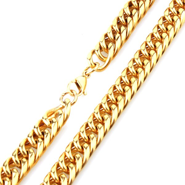 """11mm Charming 316L Stainless Steel Gold Tone Cuban Curb Chain Biker Jewelry Mens Womens Necklace Or Bracelet Wristband 7""""-40"""""""