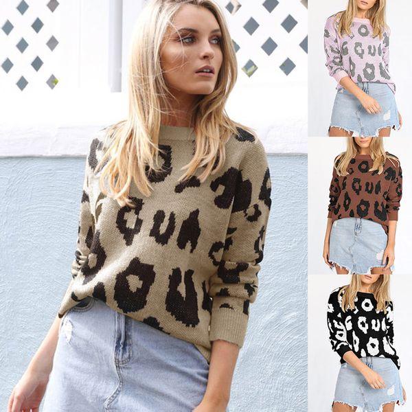 2019 vendita calda donna manica lunga leopard stampa sciolto maglioni a maglia moda girocollo pullover casual streetwear maglione top autunno