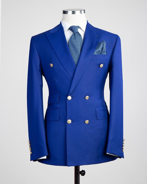Side Vent Double Breasted Blue/Red/Black Wedding Groom Tuxedos Peak Lapel Groomsmen Mens Dinner Blazer Suits (Jacket+Pants+Tie) NO:1858