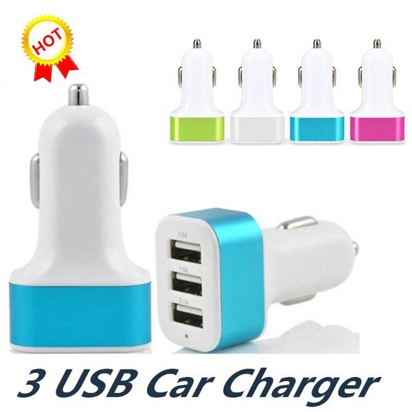 NEW Triple USB Universal Car Charger 3 Port Car-charger Adapter Socket 2A 2.1A 1A Car Styling USB Charger For iPhone Samsung LG