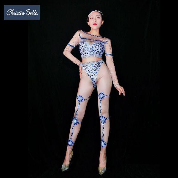 Christia Bella Sexy Nude Print Rhinestone Jumpsuits Women Crystal Bodysuit Nightclub Stage Costumes Dancer Performance Wear