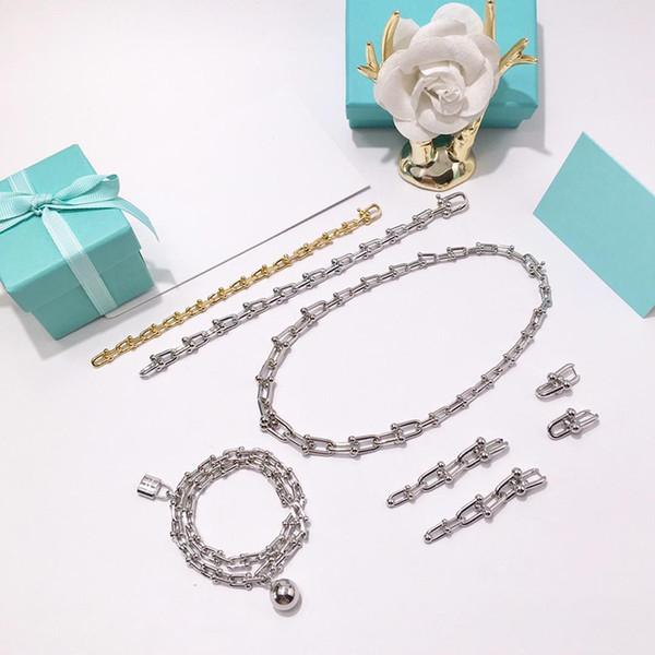 Colliers de chaîne en acier inoxydable U épais U or rose Rose lettre T marque colliers couple pour bijoux de mode hommes et femmes