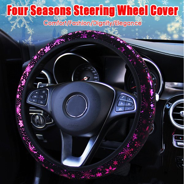 Universal Leather Car Steering Wheel Covers Flowers Print Elastic Band Auto Cover Car Interior Accessories Anti-slip Styling