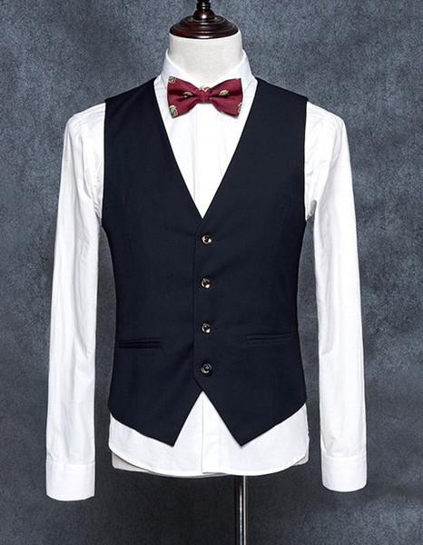 Black High Quality Men's Formal Blazer Vests Slim Fit Business Dress Suit Sleeveless Waistcoat Formal Men Vests T67