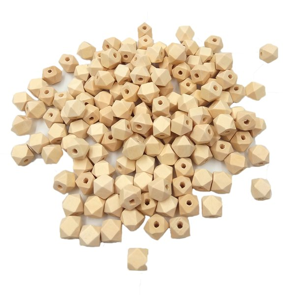 100pcs 10mm Organic Unfinished Geometric Wood Beads Teether Baby Teether DIY Accessories Wooden Octagon Beads For Jewelry Making