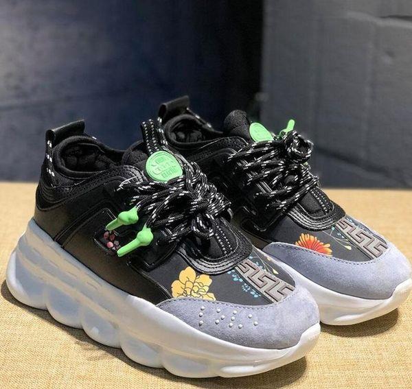 2020 Lüks ZinciriAyakkabı erkekler kadınlar Düz ayakkabılar Siyah Beyaz Mesh Kauçuk Deri Moda Günlükversace SneakersReaksiyon ayakkabı