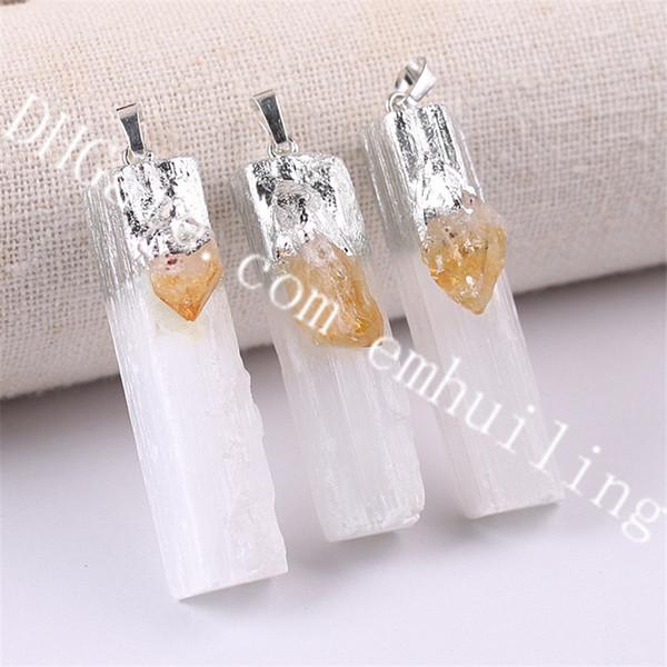 silver white selenite w/citrine