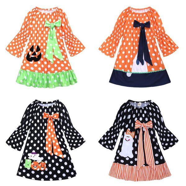 Kids Halloween Pumpkin Dress Child Orange Spring Autumn Costume Kids Party Pageant Girl Holiday Halloween Dresses