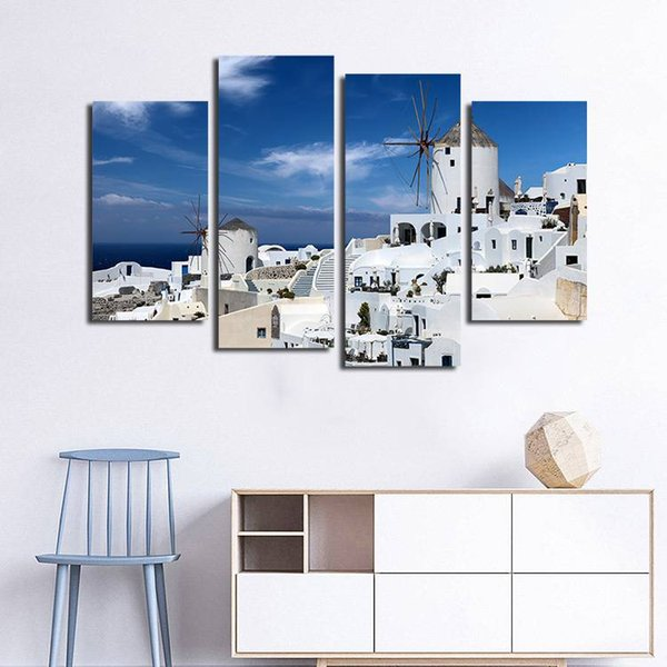 4pcs/set Unframed Greek Aegean Seaside White Buildings HD Print On Canvas Wall Art Picture For Home and Living Room Decor