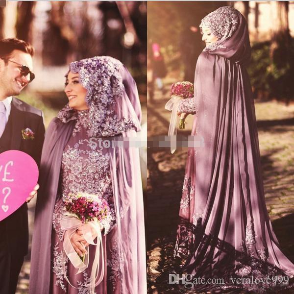 High Neck Saudi Arabian Arabic Formal Evening Dresses with Cape Cloak Hijab Islamic Party Dress Chiffon Dubai Kaftan