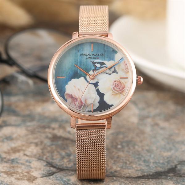 Stylish Women's Watches Blooming Flowers Round Dial Elegance Ladies Wristwatch New 2019 Female Quartz Timepieces montre femme