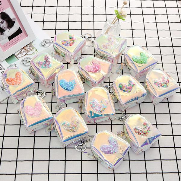11 estilos Láser corazón bolsa de la moneda llavero corta mini cartera cambio de dinero bolsa de fiesta favor del regalo de los niños bolsa FFA2086