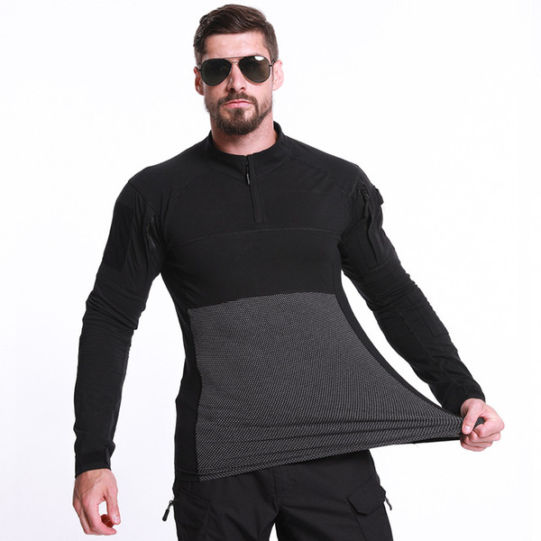 New Quality Army Hiking T-shirts Men Soldiers Combat Tactical Force Multicam Camo Long Sleeve Hunting T-shirt
