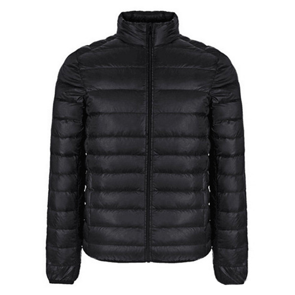 Autumn Winter Jacket Men New Couples Thin Coats Duck Down Ultra-light Slim Stand-Collar Cotton-Padded Solid Parkas X353