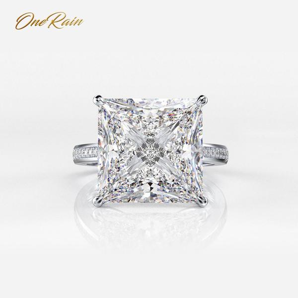 OneRain 100% argento sterling 925 quadrati Moissanite diamanti gemma fidanzamento matrimonio coppia anelli gioielli formato all'ingrosso 5-12