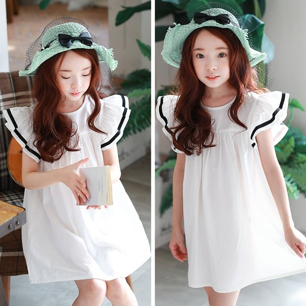 Beach Toddler Summer Dress For Girls Cotton White Dresses Big Princess Girl Children Dress Spring 2019 New Holiday Clothing Y19061501